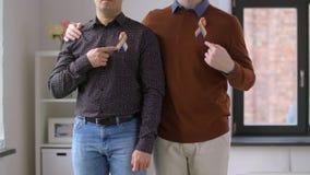 Pares masculinos con las cintas de la conciencia del orgullo gay almacen de video