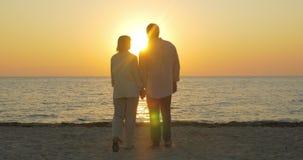 Pares mayores cariñosos que disfrutan de puesta del sol sobre el mar almacen de metraje de vídeo