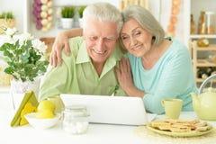 Pares mayores con la computadora portátil Fotografía de archivo libre de regalías
