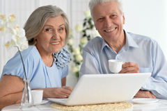 Pares mayores con la computadora portátil Fotos de archivo libres de regalías