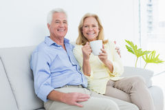 Pares mayores con la taza de café que se sienta en el sofá Foto de archivo libre de regalías