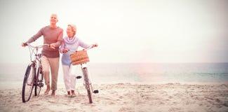 Pares mayores con sus bicicletas fotos de archivo