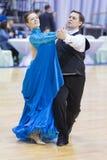 Pares mayores de la danza de Gruzdilovich Vyacheslav y de Gruzdilovich Irina Performs European Standard Program Fotografía de archivo libre de regalías
