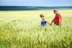 Pares mayores en campo de trigo Imagenes de archivo