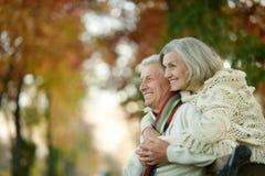 Pares mayores en parque del otoño Fotografía de archivo libre de regalías
