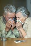 Pares mayores enfermos Imagen de archivo libre de regalías