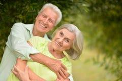 Pares mayores felices en parque Foto de archivo libre de regalías