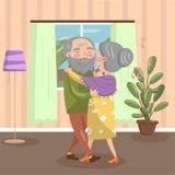 Pares mayores felices que bailan en casa, ejemplo interior acogedor del vector del vintage libre illustration