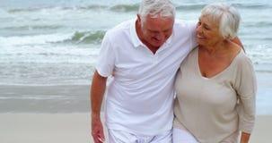 Pares mayores felices que caminan en la playa almacen de metraje de vídeo