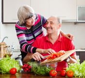 Pares mayores felices que cocinan en cocina Foto de archivo libre de regalías
