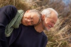 Pares mayores felices que relajan junta la sol Fotos de archivo