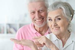 Pares mayores felices que se colocan de abarcamiento Imagen de archivo libre de regalías