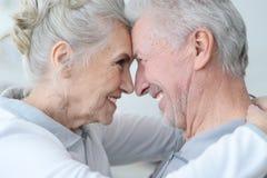 Pares mayores felices que se colocan de abarcamiento Imagen de archivo