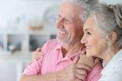 Pares mayores felices que se colocan de abarcamiento Foto de archivo