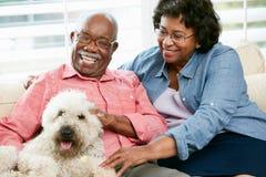 Pares mayores felices que se sientan en el sofá con el perro Foto de archivo libre de regalías