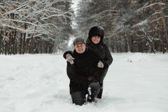Pares mayores hermosos en naturaleza del invierno fotos de archivo libres de regalías