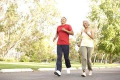 Pares mayores que activan en parque Fotografía de archivo libre de regalías