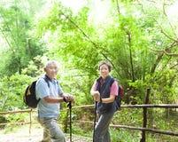 Pares mayores que caminan en la naturaleza Foto de archivo libre de regalías