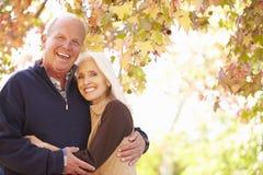 Pares mayores que caminan a través de Autumn Woodland Imágenes de archivo libres de regalías