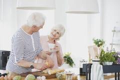 Pares mayores que desayunan imagen de archivo libre de regalías