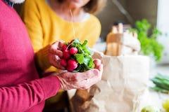 Pares mayores que desempaquetan la comida en la cocina fotos de archivo libres de regalías