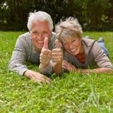 Pares mayores que detienen los pulgares para la enhorabuena Fotos de archivo libres de regalías