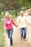Pares mayores que disfrutan de la caminata en parque Imagen de archivo
