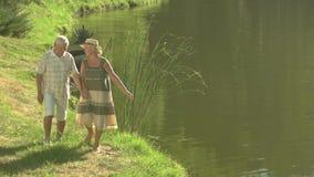 Pares mayores que disfrutan de la naturaleza cerca del agua almacen de video