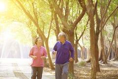 Pares mayores que ejercitan en parque Imagen de archivo