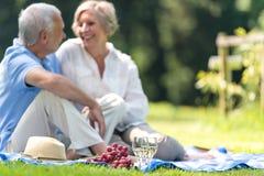 Pares mayores que meriendan en el campo al aire libre sonriendo Imagen de archivo libre de regalías
