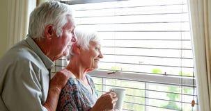 Pares mayores que miran hacia fuera de la ventana almacen de metraje de vídeo