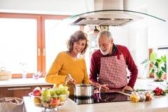 Pares mayores que preparan el alimento en la cocina imagen de archivo libre de regalías