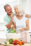 Pares mayores que preparan la ensalada en cocina imagenes de archivo
