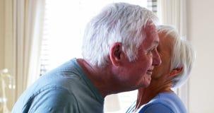 Pares mayores que se besan y que obran recíprocamente con uno a almacen de metraje de vídeo