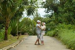 Pares mayores que se colocan de abarcamiento en un bosque tropical Imagen de archivo libre de regalías