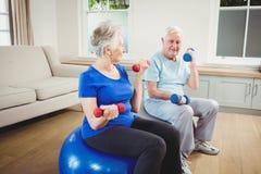 Pares mayores que se sientan en bolas de la aptitud con pesas de gimnasia Fotos de archivo libres de regalías