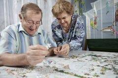 Pares mayores que trabajan en un rompecabezas Fotos de archivo libres de regalías