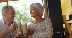 Pares mayores que tuestan los vidrios del café y que se besan en el café 4k almacen de metraje de vídeo