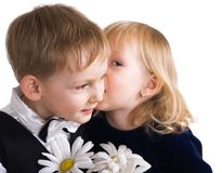 Pares, menino e menina felizes imagens de stock royalty free