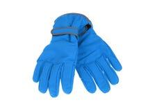Pares mornos de luvas azuis do esqui do inverno fotografia de stock royalty free