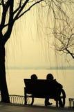 Pares mostrados em silhueta sentados pelo lago imagens de stock royalty free