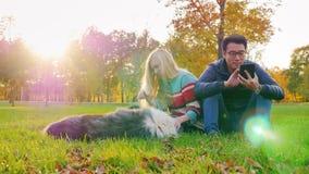 Pares multi-étnicos novos que relaxam no parque com seu cão Homem asiático que olha em uma tabuleta, jogo caucasiano da mulher filme