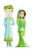 Pares musulmanes de la boda ilustración del vector