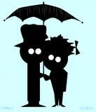 Pares na chuva Fotografia de Stock