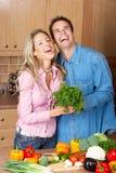 Pares na cozinha Fotografia de Stock Royalty Free