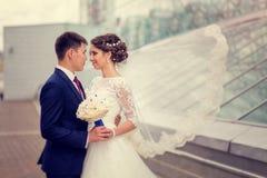 Pares no abraço dos noivos do amor em um fundo da arquitetura urbana O véu da noiva que vibra no vento Fotografia de Stock