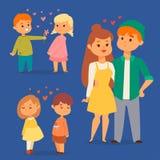Pares no adulto romântico de sorriso feliz do amorousness da mulher dos povos da unidade dos caráteres do vetor do amor junto ilustração royalty free