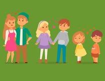 Pares no adulto romântico de sorriso feliz do amorousness da mulher dos povos da unidade dos caráteres do vetor do amor junto ilustração do vetor