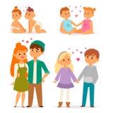 Pares no adulto romântico de sorriso feliz do amorousness da mulher dos povos da unidade dos caráteres do vetor do amor junto ilustração stock