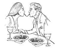 Pares no amor com comer os espaguetes, beijo em um restaurante ilustração royalty free